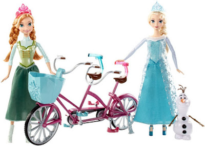 TOYS : JUGUETES - DISNEY Froze  La Bicicleta Musical de Anna y Elsa  Anna and Elsa's Musical Bicycle   Pack - 2 Muñecas : dolls - Bicicleta - 1 Figura de Olaf  Producto Oficial 2015   Mattel DFN54   A partir de 3 años  Comprar en Amazon