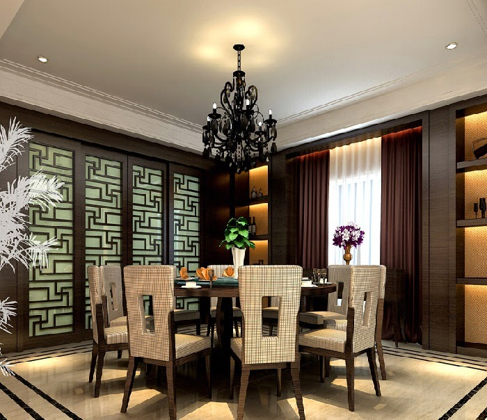 Modern Dining Room Decor With Brown Door And Red Wall