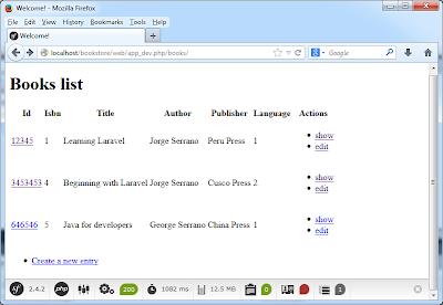 CRUD Symfony PHP