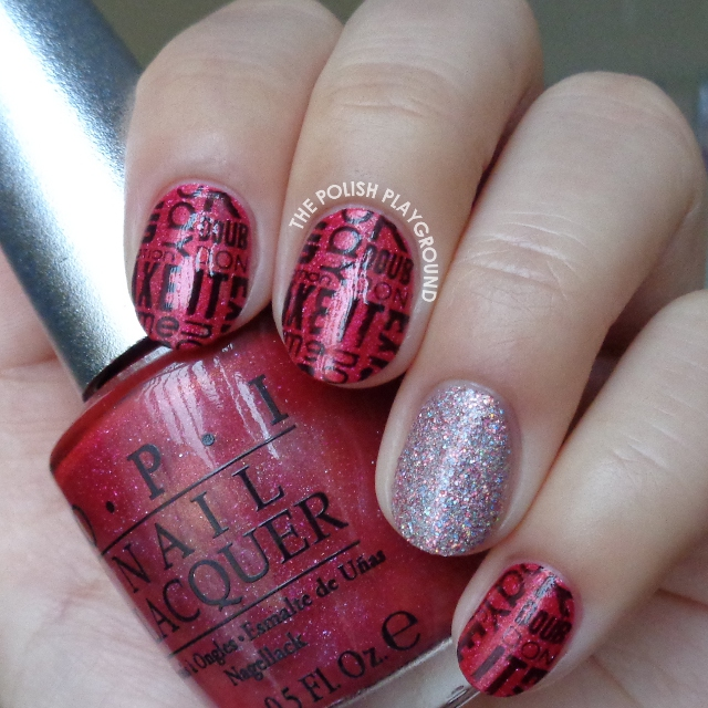 Red and Black Words Stamping with Pink Glitter Accent Nail Art