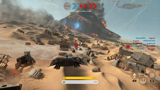 Star Wars Battlefront Battle of Jakku Graveyard of Giants Airspeeder
