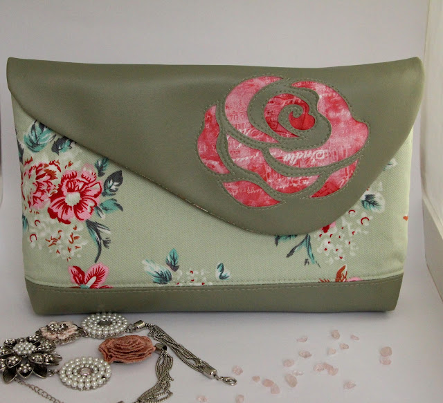 green/dark pink Clutch with reverse applique