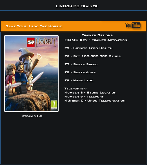 Lego The Hobbit Steam v1.0 Trainer +7 [LinGon]