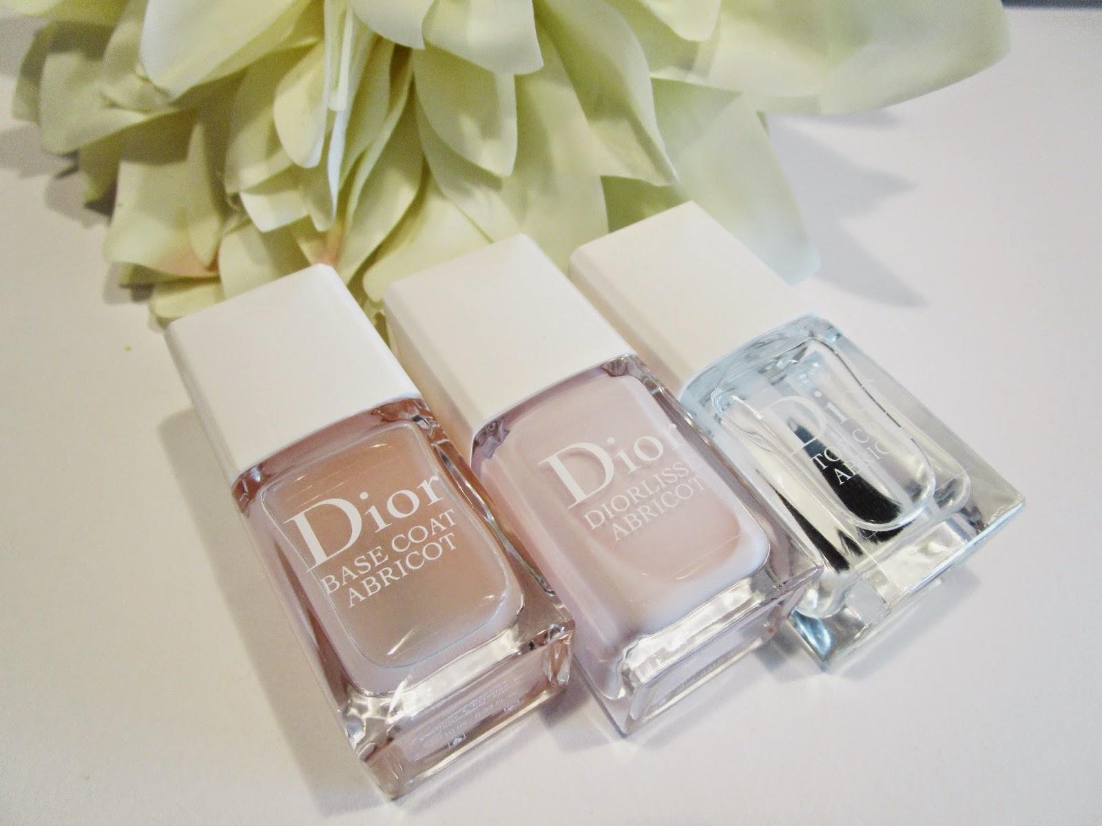 Base Coat Abricot, Laca de uñas Diorlisse Abricot y el Top Coat Abricot de Christian Dior
