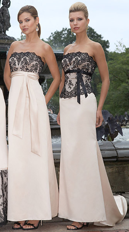 bridesmaids gowns beige and black lace dress