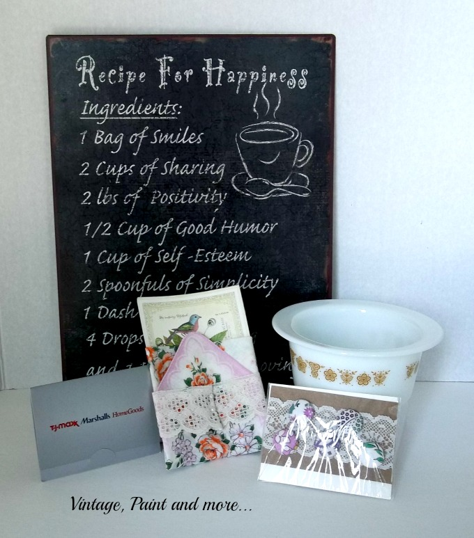 Vintage, Paint and more... vintage recipe sign, vintage buttons, vintage hankie, pyrex bowl