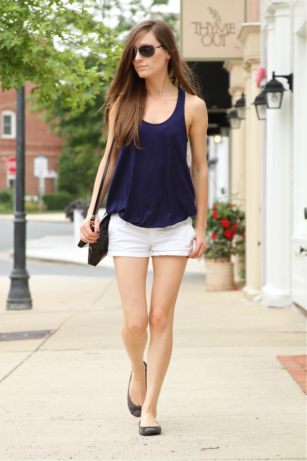 Classy and fabulous: Blue Top & White Shorts