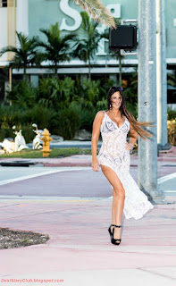Claudia Romani White Dress Photo shoots in Miami
