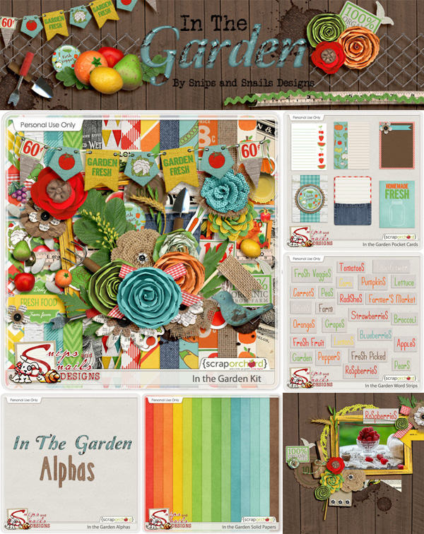 In the Garden Digital Scrapbook Collection by Snips and Snails Designs