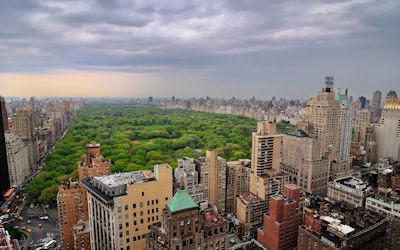 Vista aérea del Parque Central en Nueva York, USA.