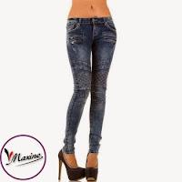 Jeansi skinny, de culoare albastra, cu buzunare false, decorate cu fermoare ( )
