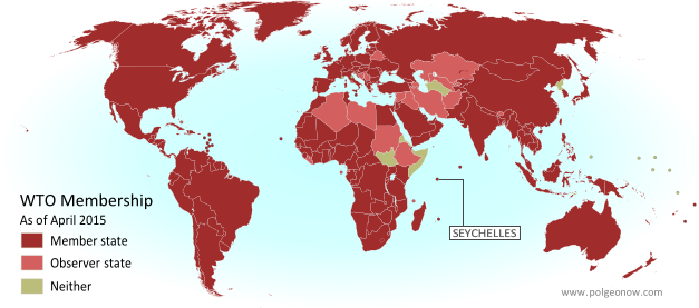 Map of World Trade Organization (WTO) member and observer countries, updated for April 2015 to include new member Seychelles