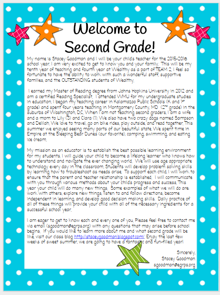 Second Grade Welcome Letter To Parents