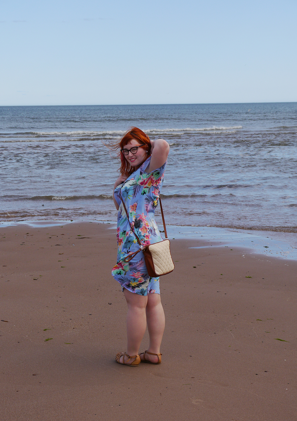 summer style, tropical style, beach style, DIY dress, dressmaking, Styled by Helen: Tropical, red head, ginger, Topshop sandals, pink blazer, Tom Pigeon earrings, The Whitepepper bread bag