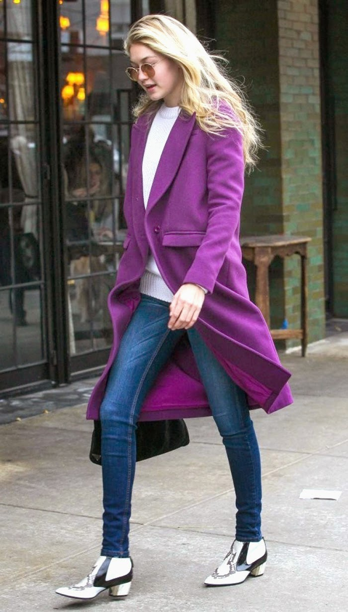 Gigi Hadid Street Style - Cozy With a Vibrant Violet Coat