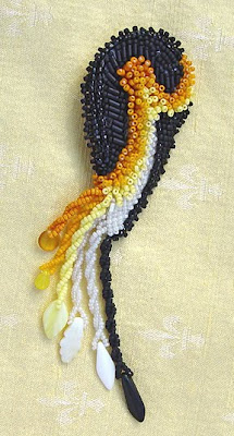 bead embroidery pin by Robin Atkins, Emperor Penguin