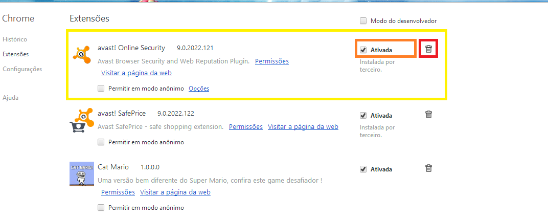 Configurações de Extensões do Google Chrome
