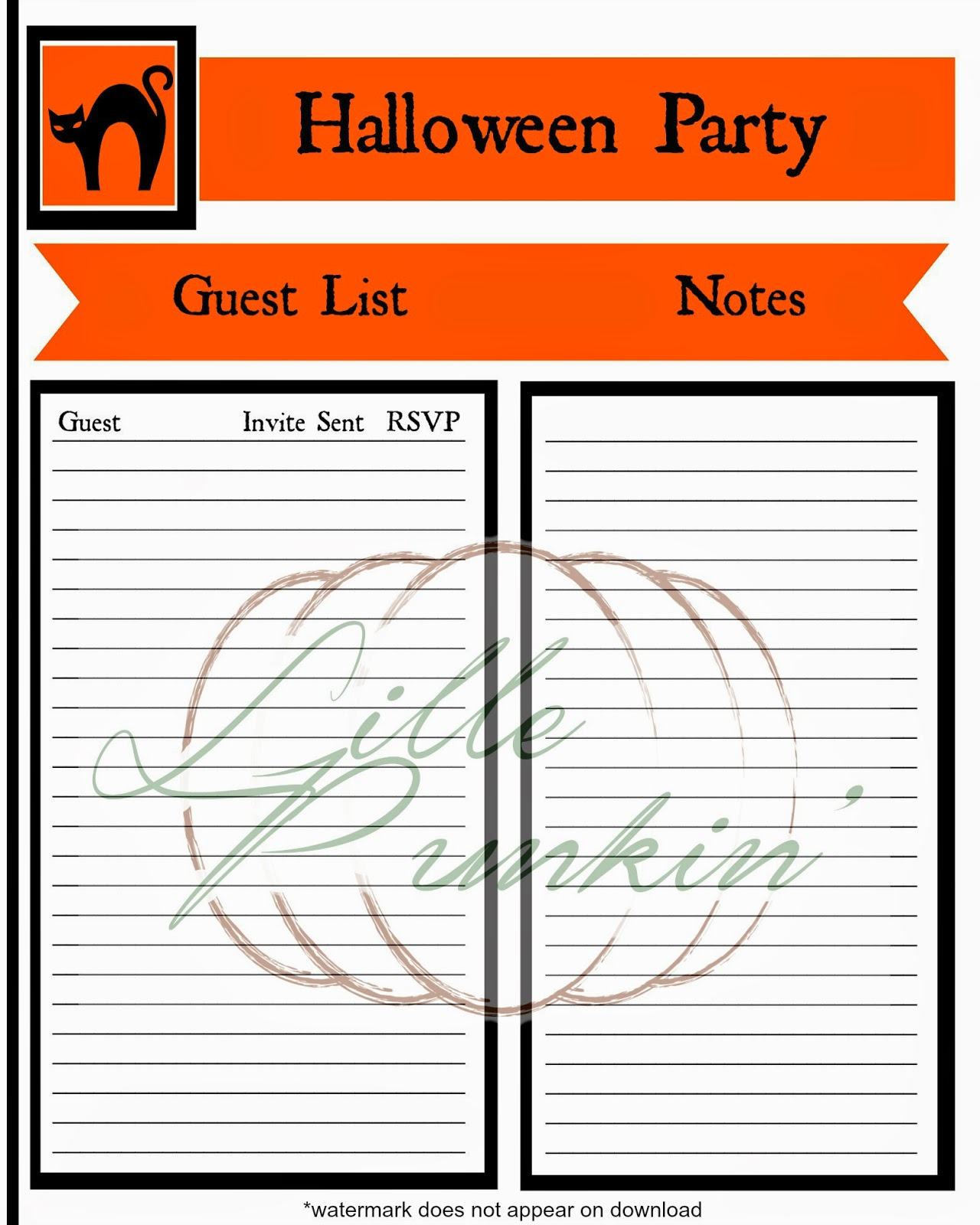Lille Punkin\': Free Halloween Party Planning Printables!