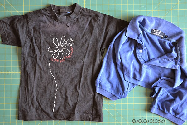 Embellishing tutorial by Cucicucicoo: How to cover up ugly graphics, logos or stains with slashed t-shirt reverse applique