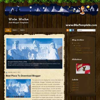 Winter Weather Blogger Template. wordpress theme to blogger template. magazine style template