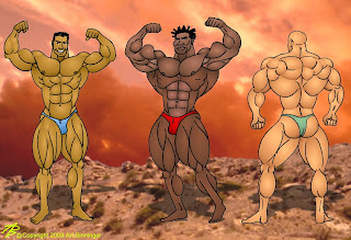 "ROBBY ROBINSON AND OTHER COMPETITORS ""POSE DOWN"" - BODYBUILDING ANIMATION BY AB www.robbyrobinson.net/books.php"