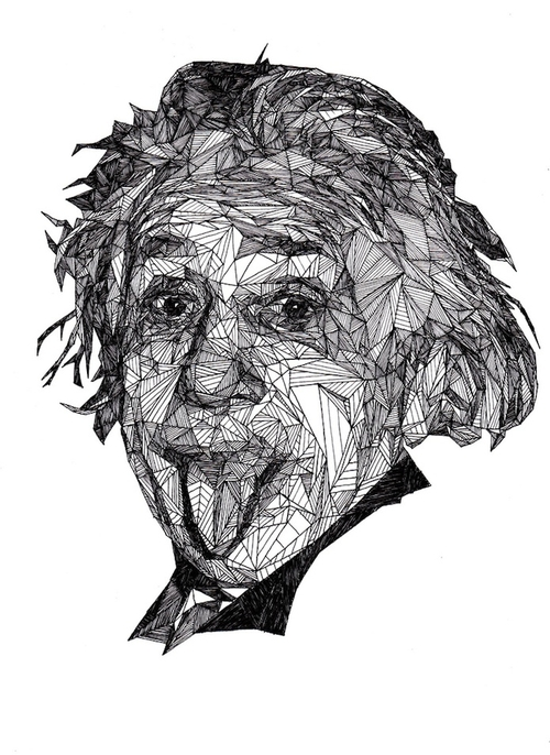 04-Albert-Einstein-Josh-Bryan-Monochromatic-Triangulation-Drawings-Portraits-www-designstack-co