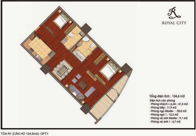 Chi tiết thiết kế căn hộ toà R1 chung cư Royal City diện tích 124.6 m2