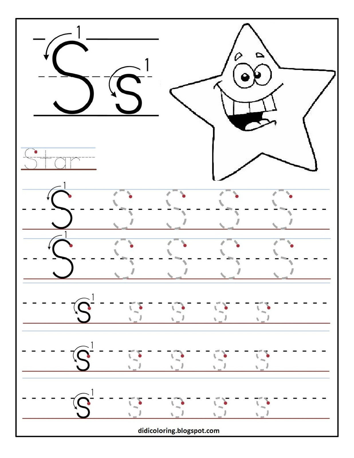 Free printable worksheet letter S for your child to learn and write