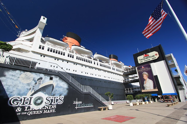 A close look at the legendary Queen Mary's cruise ship at Long Beach, Los Angeles, California, USA