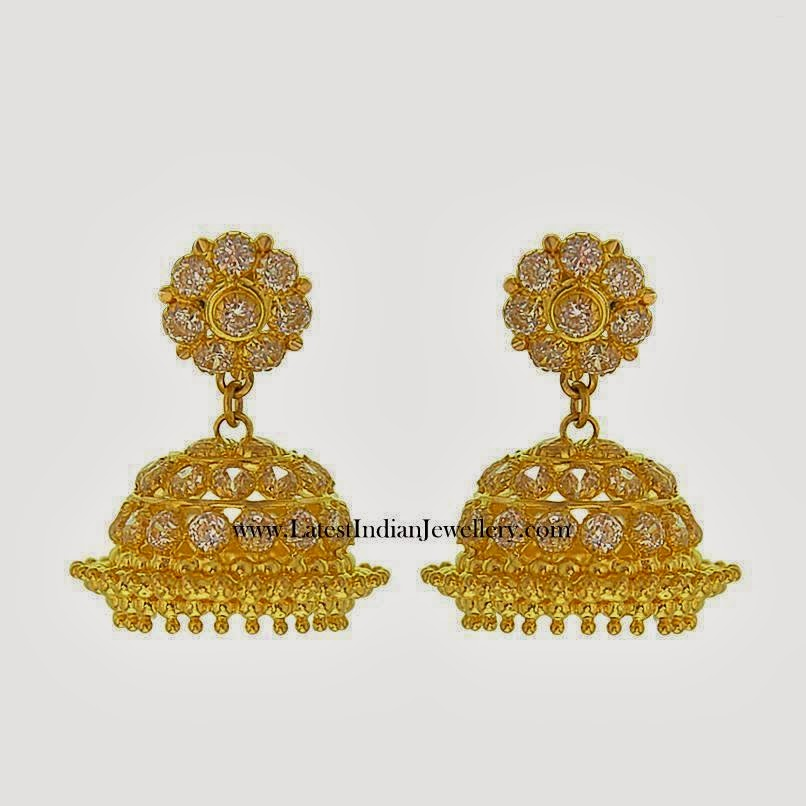 CZ yellow gold cute jhumkas