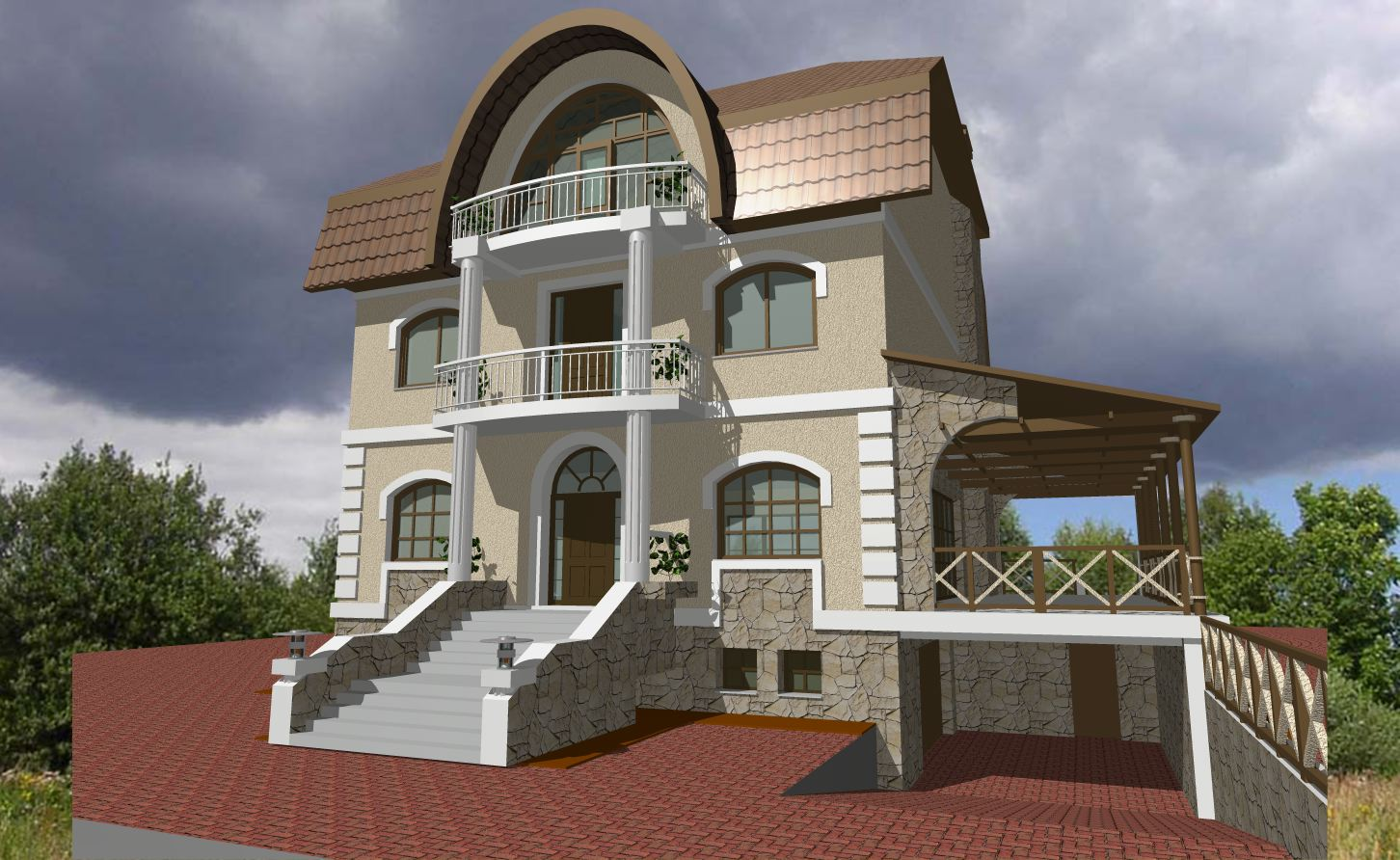 Foundation dezin decor exterior elevations view 39 s for Outer decoration of house