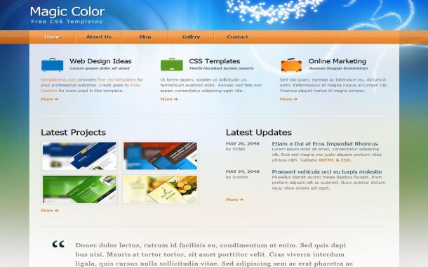 Free Colorful Blog Blue CSS Website Template