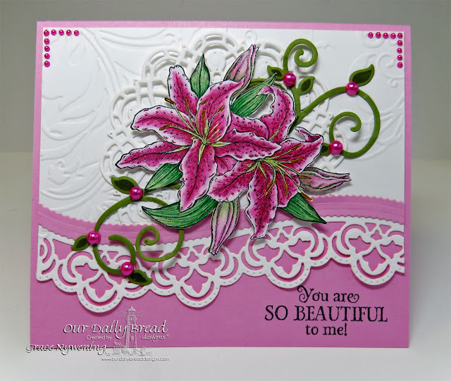 ODBD stamps: Beauty, dies: Leafy Edged Borders, Fancy Foliage, doily dies, designed by Grace Nywening