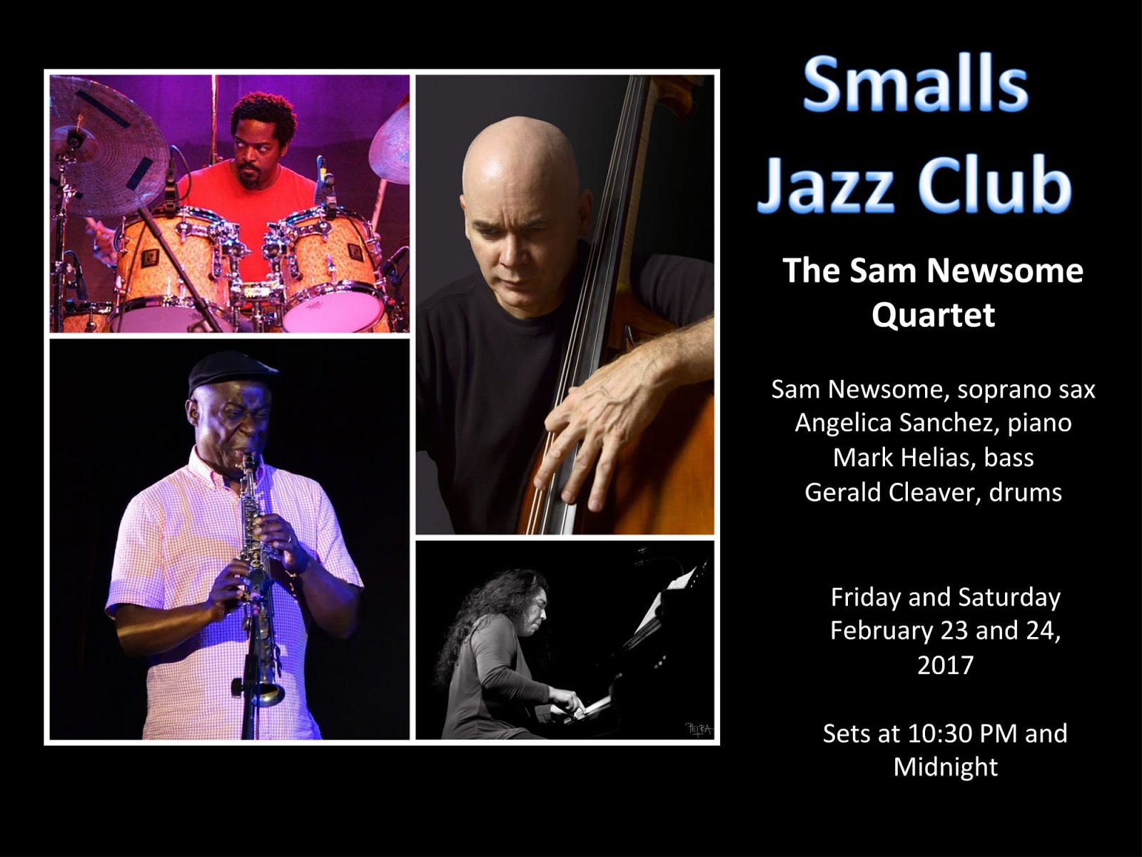 Coming in February 2017! The Sam Newsome Quartet at Smalls Jazz Club