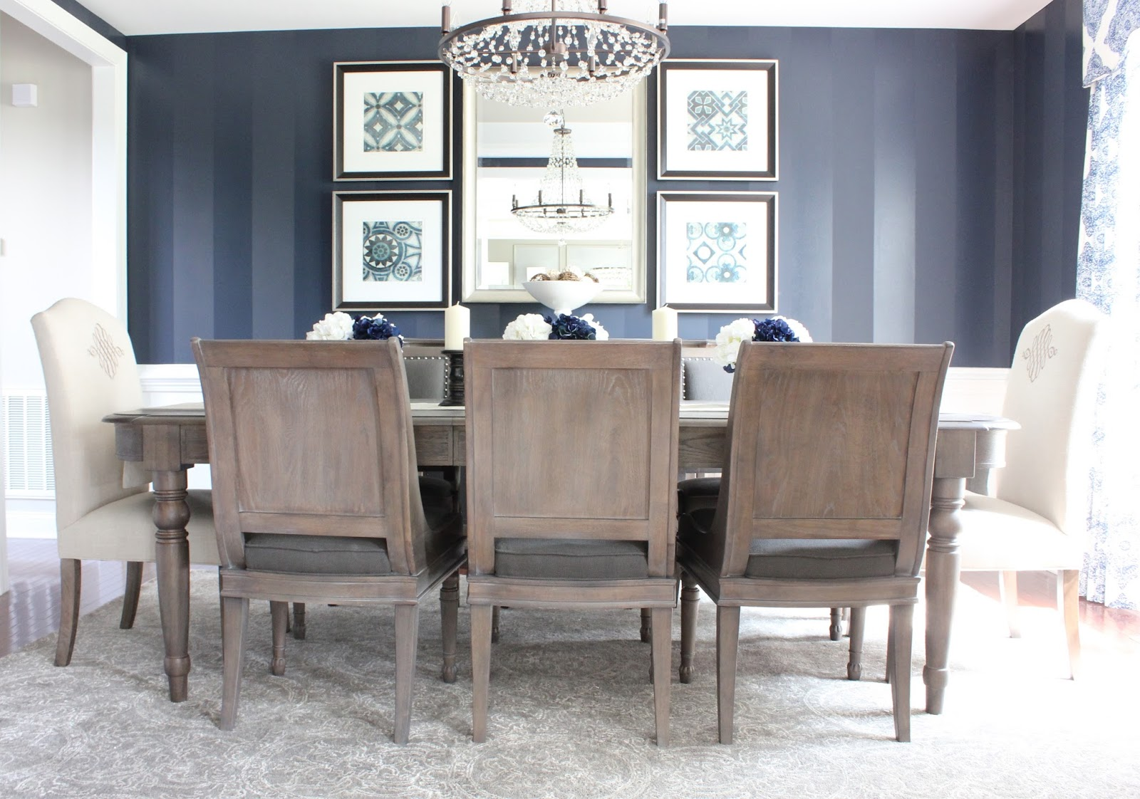 decorating with color new south home dark navy blue stripes make the statement in our client s dining room