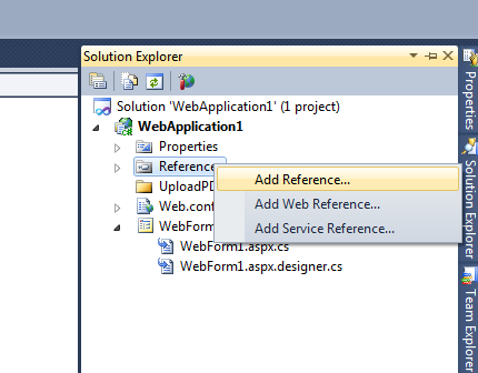 add reference in visual studio