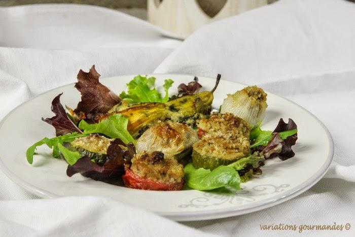 farcis, légumes, fleurs de courgettes, courgettes, tomates, oignons, huile d'olive, Nice, plat, viande, entrée