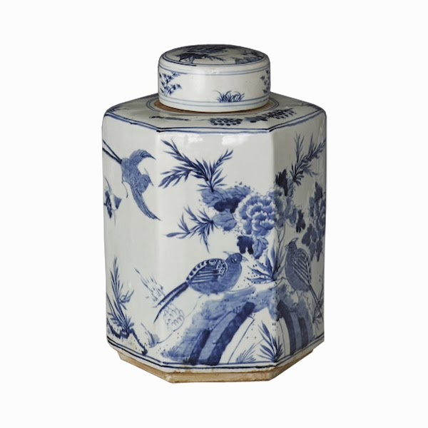 blue and white tea jar greige