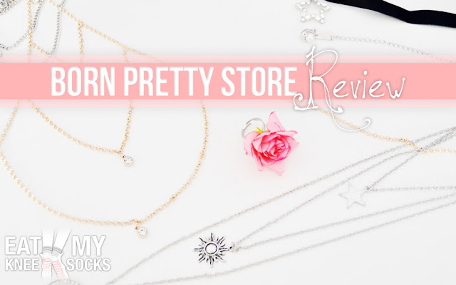 A review of jewelry from Born Pretty Store by Eat My Knee Socks/Mimchikimchi, featuring body chains, floral rings, layered necklaces, chokers, and more!