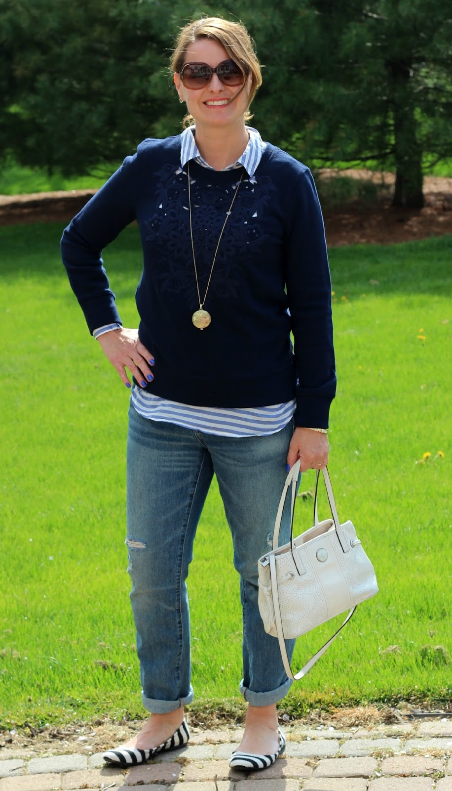 40 something fashion, mom style, spring outfit, spring style, j crew boyfriend jeans, striped popover