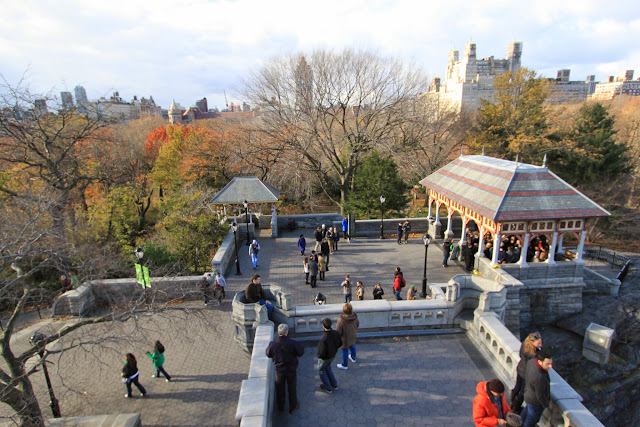 Standing on the top of Belvedere Castle in Central Park, New York, USA