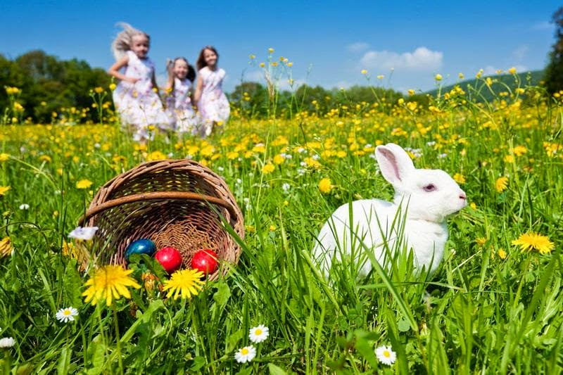 Easter Bunny with kids and eggs
