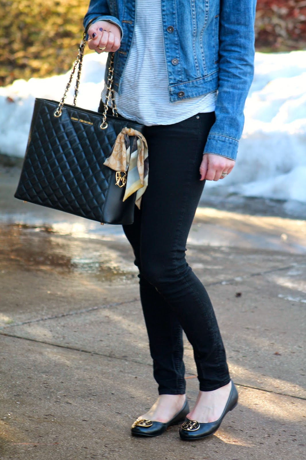 striped tee denim jacket black jeans