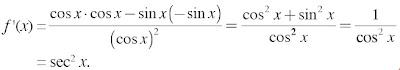 f(x) = tan x