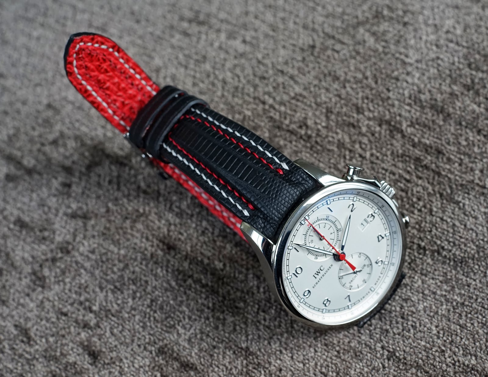 Joseph's Great looking IWC Portuguese Yacht Club Chronograph on SuperMatte Teju Lizard Strap