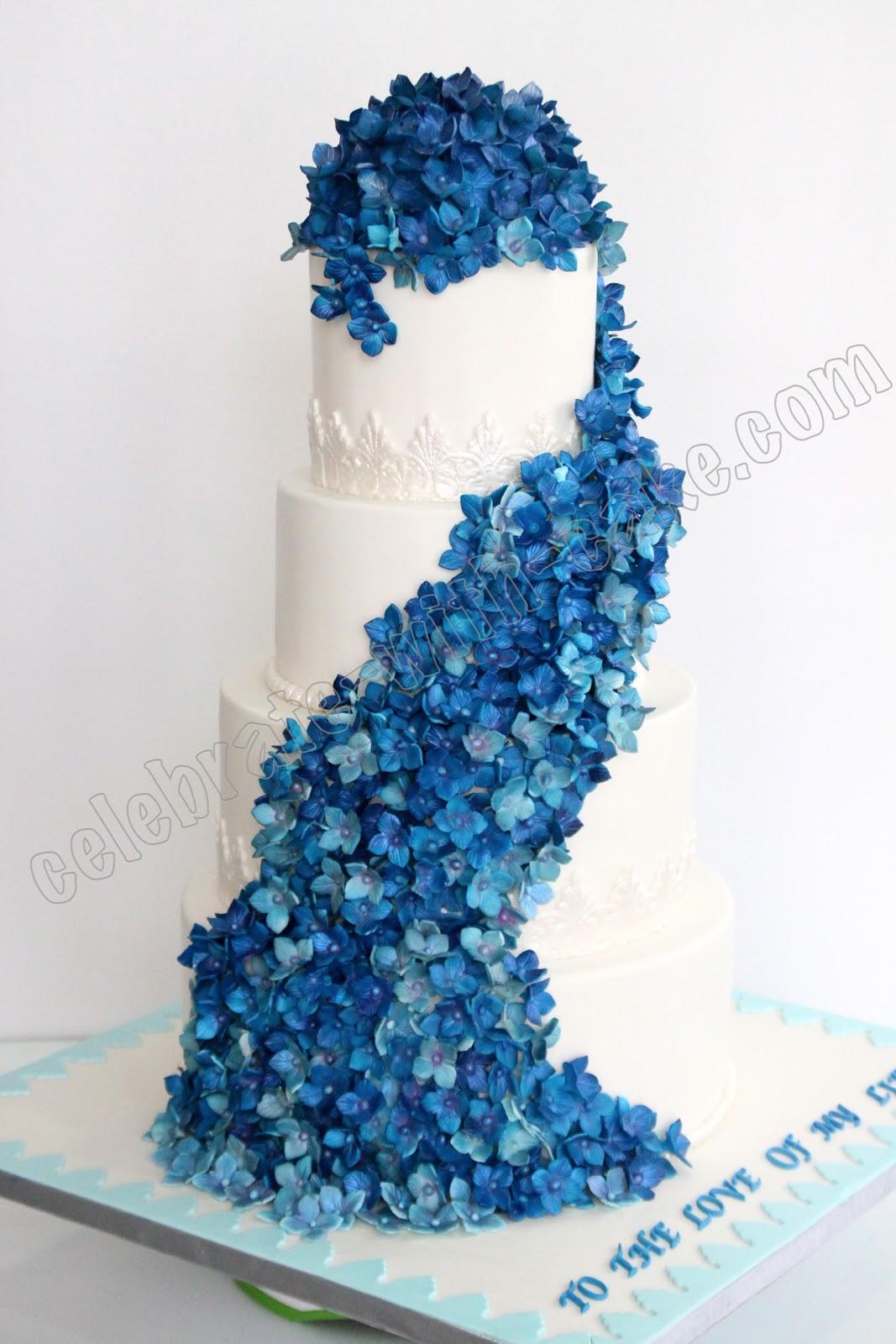 Celebrate with Cake Cascading Blue Hydrangeas Wedding Cake