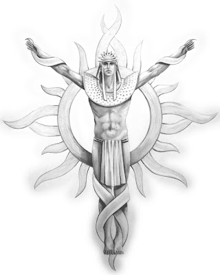 Tribal Tattoo Inca Sun God Concept sketch for a poly resin wall plaque