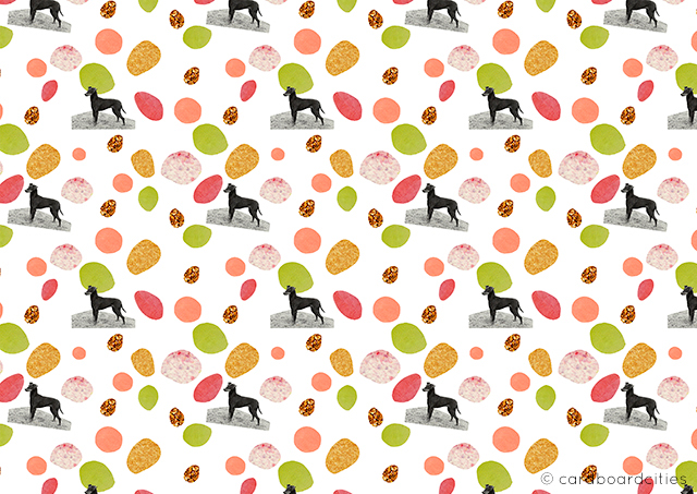 'mini dogs' - a collage pattern by laura redburn