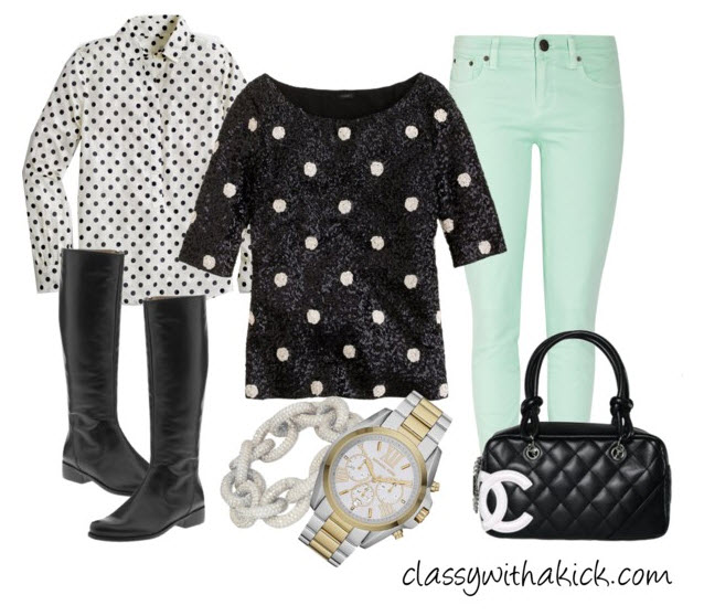 sequin polka dot shirt, polka dot blouse, mint skinnies, chanel purse, black riding boots