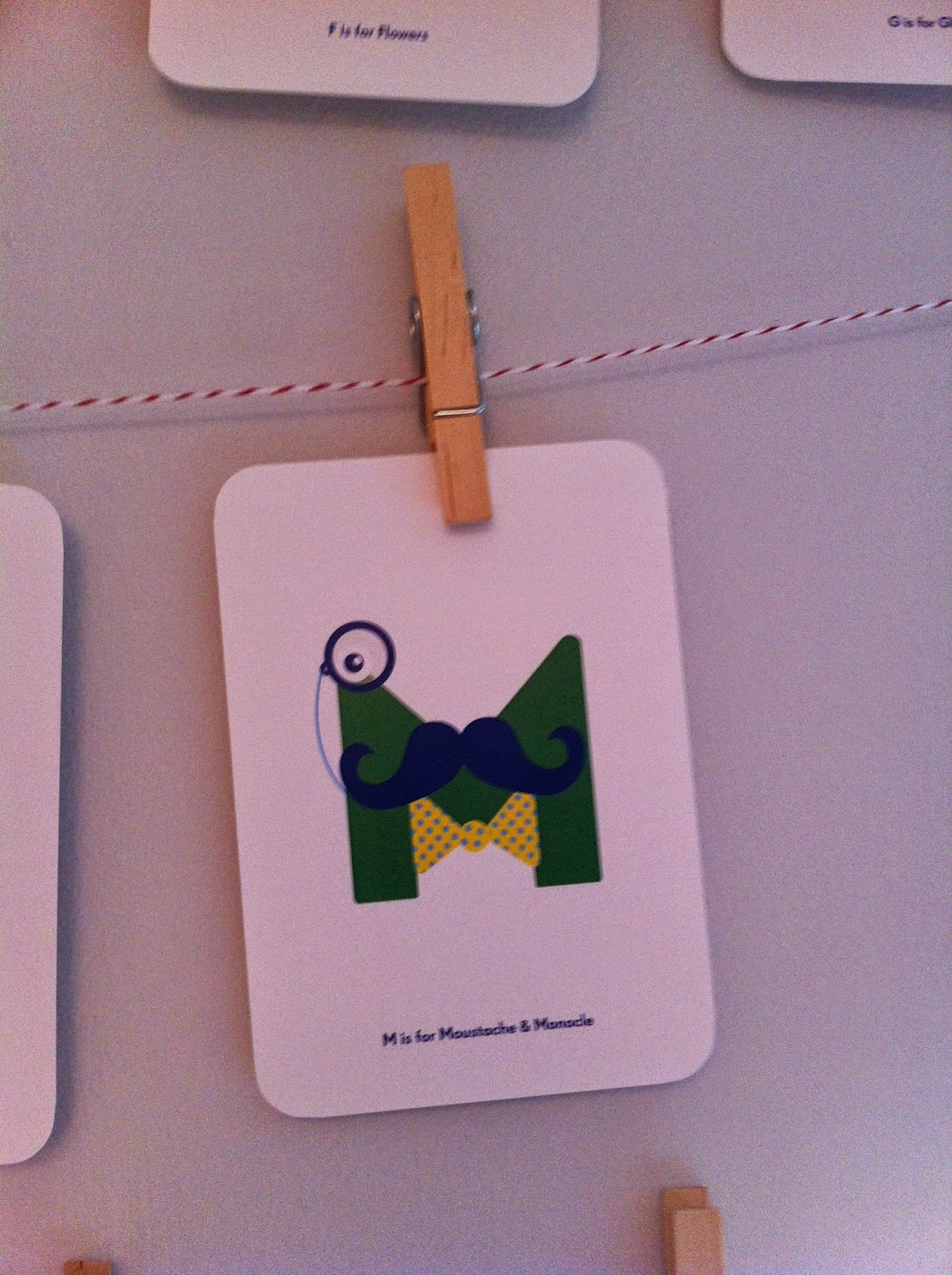 Nursery Names alphabet card M for Moustache
